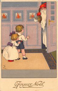 Christmas Santa Claus White Robed Signed  Children Doorway Postcard