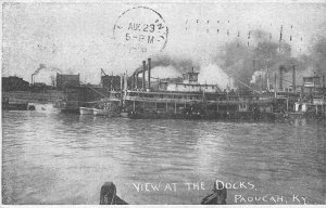 Paddle Steamer Docks Paducah Kentucky 1909 postcard