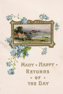 BIRTHDAY, 1900-10s; Many Happy Returns of The Day, Bi-Fold, Country View fr...