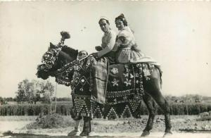 Horse rider of Valencia with his girl ethnic types semi-modern postcard