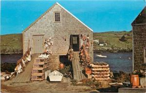 Monhegan Maine~Cabin At the Fishing Beach 1950 Postcard