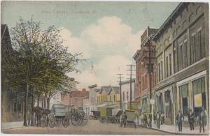 Ohio Postcard 1910 LEETONIA Columbiana County BUSY CORNER Wagons Stores Lisbon