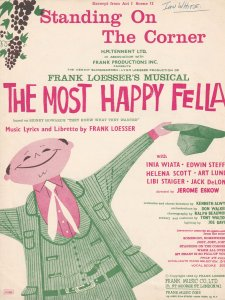 Standing On The Corner The Most Happy Fella 1950s Musical Sheet Music