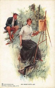 Artist signed Harrison Fisher An Hour With Art Postcard