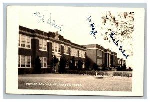 Vintage 1940's RPPC Postcard Public School Buildings Perrytown Texas