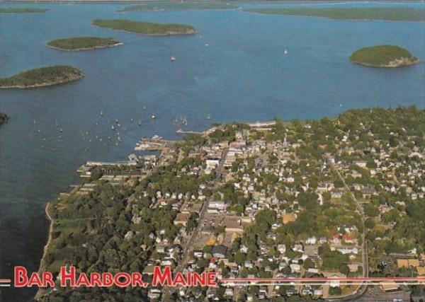 Maine Bar Harbor Aerial View Showing Frenchman's Bay & Porcupine Isl...