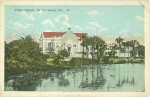 St Petersburg FL Public Library White Border Postcard