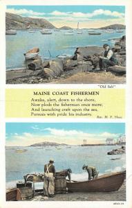 Maine Coast Fishermen~Rev Huse Poem~Men Put Fish on Table~Old Salt on Rock~1929