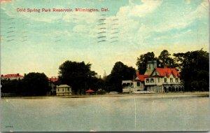 1910 Cold Springs Park Reservoir Wilmington New Castle Delaware Postcard DE