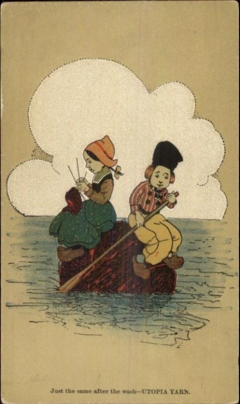 Utopia Yarns - Dutch Children on Raft c1905 Postcard #1