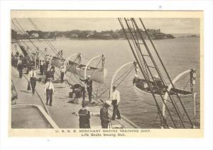 U.S.S.B. Merchant Marine Training Ship, USA, 1910-30s   Life Boats Swung Out