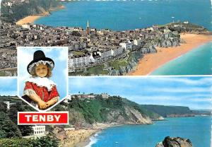 Tenby Beach Panorama Aerial view Traditional Costume