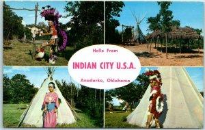 Anadarko, Oklahoma Postcard INDIAN CITY U.S.A. Multi-View Tepees Chrome c1950s