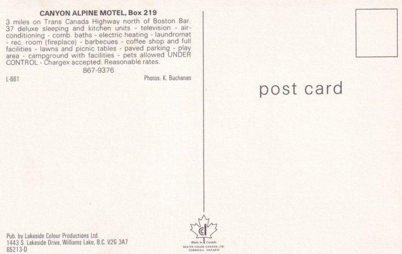 BRITISH COLUMBIA, Canada, 1950-1960s; Canyon Alpine Motel