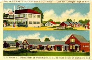 MD - Berwyn. Stewart's Modern Brick Cottages, Diner & Esso Gas Station