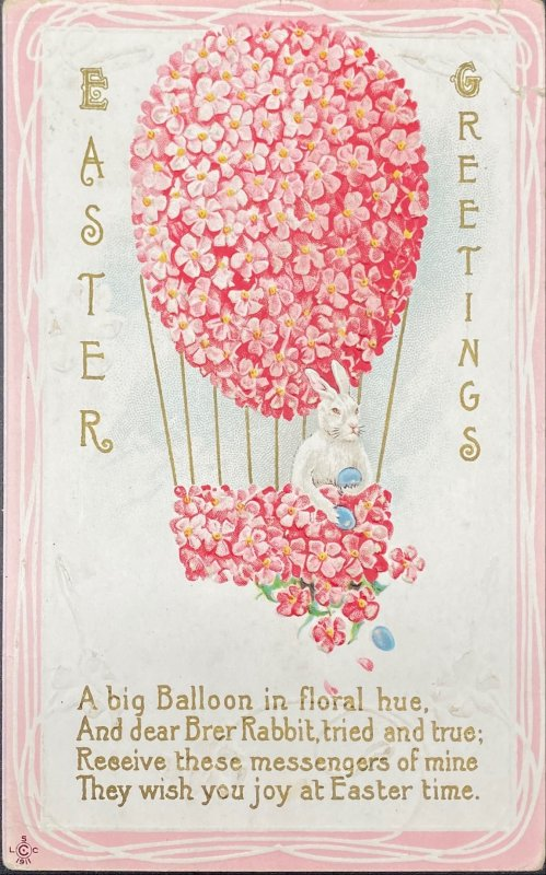 Brer Rabbit In Floral Hot Air Balloon Anthropomorphic Easter Bunny