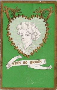 Erin Go Bragh St. Patrick No 1018 Heart Harps Green Embossed Postcard G23