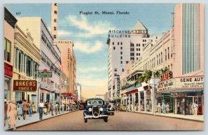 Miami Florida~Flagler Street~State Theatre~Gene Autry~Kress Store~1942 Linen PC