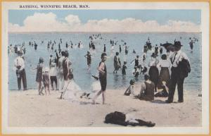 Winnipeg Beach, Manitoba - Swimmers at the beach -