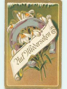 Pre-Linen art nouveau GERMAN GOODBYE MESSAGE WITH FLOWERS AND HORSESHOE HJ3694