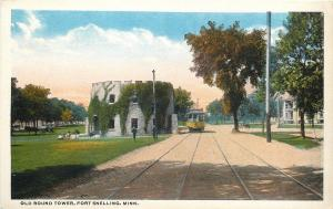 Fort Snelling Minnesota~Trolley Passes Old Round Tower~Autumn Trees 1920s