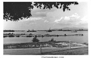 Guantanamo Bay Cuba Harbor View Ships Mountains Real Photo Postcard