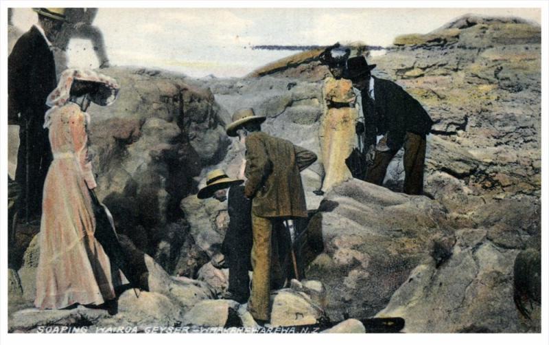 21874 New Zealand Whakarewarenwa  Tourist Looking  Soaping Wairoa Geyser,