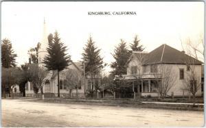 RPPC KINGSBURG, CA California   STREET SCENE CHURCH, House  1915  Postcard