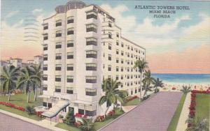 Florida Miami Beach Atlantic Towers Hotel 1950 Curteich