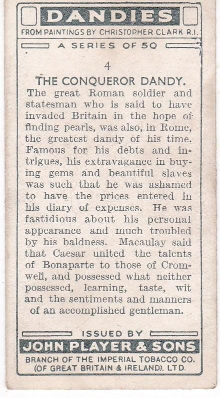 Cigarette Card Player's Dandies No 4 Julius Caesar