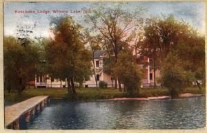 Winona Lake, Indiana~Kosciusko Lodge~Lake View~1913 Postcard