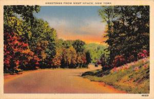 West Nyack New York Scenic Roadway Greeting Antique Postcard K432018
