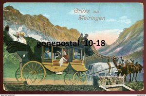 dc1748 - SWITZERLAND Gruss aus Meiringen 1910s Carriage Coach FOLD-OUT Novelty