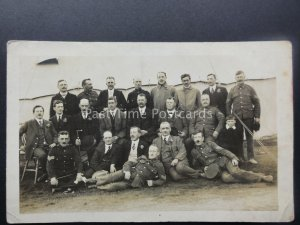 Appleby WW1 Military Group Portrait Soldiers OUTSIDE MESS TENT c1914 RP Postcard