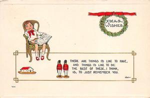 Christmas Post Card Old Vintage Antique Xmas Postcard 1913
