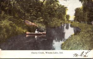 Indiana Winona Lake Canoeing On Cherry Creek 1908