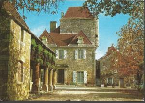 Vintage LINEN Postcard DOMME Dordogne Governor's House & Market FRANCE