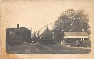 Buxton ME Railroad B&M Railroad Flat Car Crane at Work RPPC Postcard