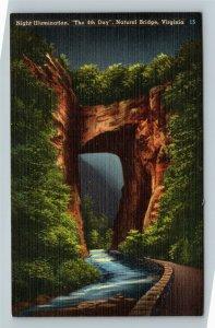 Natural Bridge VA, Night Illumination, Linen Virginia Postcard