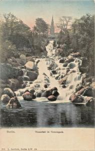 BERLIN GERMANY~WASSERFALL im VICTORIAPARK~L SAALFELD 1900s PHOTO  POSTCARD
