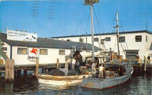 Galilee Rhode Island~Fisherman Unloading Boats~Mobil Fuel~Point Judith~1958 Pc