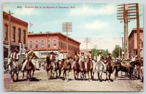 Cheyenne Wyoming~Frontier Day on City Streets~Horseback Riders 10 Abreast~c1910