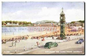 Britain Old Postcard Esplanade Weymouth and clock tower