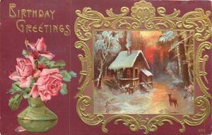 Deer Out Front Winter Cabin Home~Twilight~Ornate Gold Frame~Roses~Maroon Back