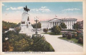 Washington D C Sherman Statue and United States Treasury