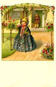 Girl in Rose Garden, Boy Watching  (No. 2485)  Artist: Pauli Ebner