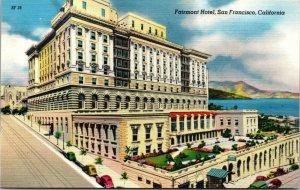 Vtg 1930's Fairmont Hotel San Francisco California CA Linen Postcard