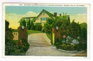 Los Angeles, California to Wichita, Kansas 1929 used PC Pickford Fairbanks House