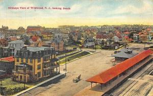 Wildwood NJ Railroad Station Train Depot Birdseye View Postcard