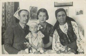 Romania military family social history early photo postcard uniform folk costume